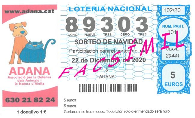 Loteria Nadal 2020 ADANA Protectora Animals Alella
